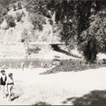 Bidwell Bar Bridge and beach with bathers