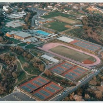 Aerial photograph, West Valley College, south side of campus, 1977