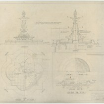 Architectural drawings of fountain, Pasadena City Hall, sheet no. 809