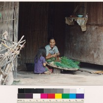 Hmong mother and daughter preparing vegetables