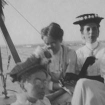 [Edna Watson Bailey and Beth Worthen on a sailboat]