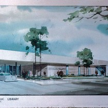 Drawing of architect's plan for Monterey Park Bruggemeyer library