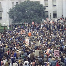Student demonstration in Sproul Plaza