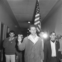 Mario Savio leading demonstrators into Sproul Hall
