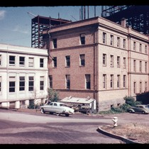 Back of UC building on Parnassus with new campus construction in background, ...