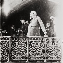 B. F. Conaway photograph of President Benjamin Harrison on car platform