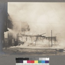 [Burning of structure Metropolitan Temple, adjacent to Lincoln School. Fifth Street, between ...