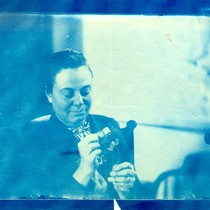 Cyanotype of Alice Eastwood in the lab