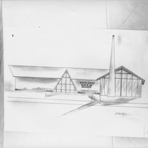 Architect's drawing of the Church of the Nazarene, El Verano, California, 1955