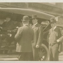 [San Francisco] Chief of Police Gus White (center wearing fedora hat)