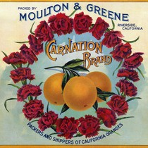 "Crate label, ""Carnation Brand."" Moulton & Greene, Riverside, California"