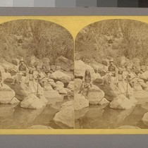 Coyotero Apache Scouts, at Apache Lake, Sierra Blanca Range, Arizona.--Photographer: T. H. ...