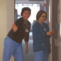Quezona (Sonia) Quinones, RN and Erica Grace, RN on 3-East, outside of ...