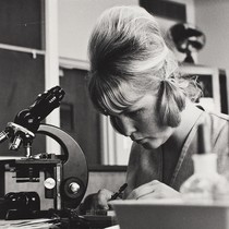 A woman looking through slides near a microscope in a science lab