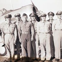 Flight instructors posing in front of a training aircraft, Hancock College of ...