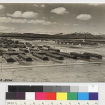 [postcard] [Our concentration camp in Topaz, Utah. The barbed wire fence and ...