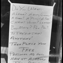 """Do you want"" (sign), Haight-Ashbury 1967"