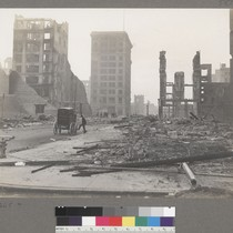 [Ruins and debris. Shreve Building, center, at Post Street and Grant Avenue.]