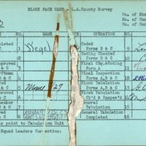 WPA block face card for household census (block 1853) in Los Angeles ...