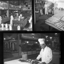 Photograph montage of kitchen with chef and fancy food, Riverside, California