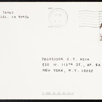 Card from Eileen Chang to C.T. Hsia, 1992