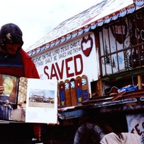 Slab City: photo of Leonard Knight next to his truck