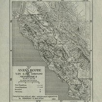 1774 Map of de Anza's Route from San Luis Obispo to Monterey