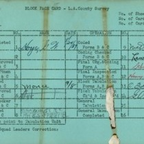 WPA block face card for household census (block 1014) in Los Angeles ...