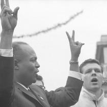 James Farmer giving the V sign at a CORE rally at Bancroft ...