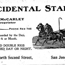 Advertising card 1900, Occidental Stables