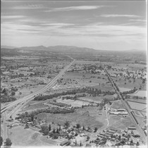 Aerial view of a mobilehome park near Windsor, California, 1972