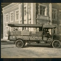 [D. Ghirardelli Company truck outside factory.]