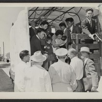 Tule Lake-bound evacuees from Granada are shown at the Granada depot. Photographer: ...