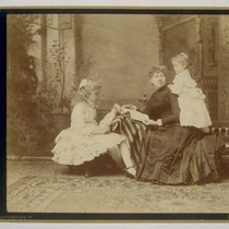 [Group portrait of Mrs. I.W. Taber with daughters Daisy, left, and Louise, ...