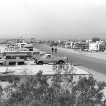 Slab City: photograph of campers and recreational vehicles along main road through ...