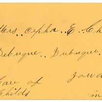 Envelope Addressed to Childs in Iowa