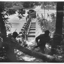 Building a Pontoon Bridge. The bridge completed, a company of infantry rush ...