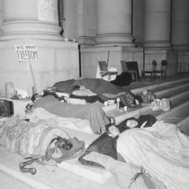 Demonstrators asleep on the steps of Sproul Hall during sit-in the night ...