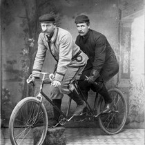 James Mulvey and Ed Wells, bicycle racers, (late 1890s), photograph