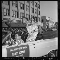 Nisei Festival Week Queen rides in parade through Little Tokyo, Los Angeles ...