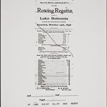 "Advertisement announcing rowing regatta on ""Lake Bohemia"", Guerneville, California, 1898"