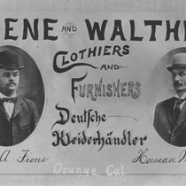 """Fiene and Walther Clothiers"" photographic advertisement postcard, Orange, California, ca. 1910"