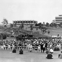 1967 Commencement in campus park