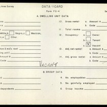 WPA Low income housing area survey data card 118, serial 13039, vacant