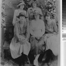 Group portrait with Glady (Frye) Estep sitting in middle of other women ...