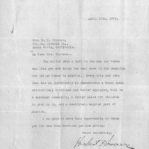 Letter from Herbert Hoover to Mary Winters, April 13, 1923