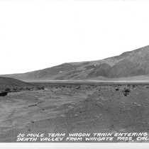 20 Mule Team Wagon Train Entering Death Valley from Wingate Pass, Calif