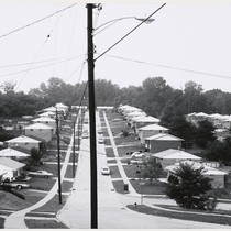 [Bird's-eye view of a suburban street lined with houses.]