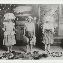 Full length portraits of Big Head dancers, L-R: Herbert Young, George Nye ...