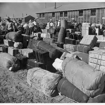 Eden, Idaho--The baggage, belonging to evacuees who have just arrived from the ...